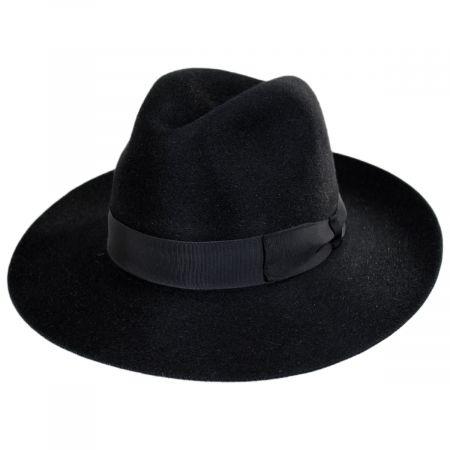 Stefeno Buck Fur Felt Wide Brim Fedora Hat