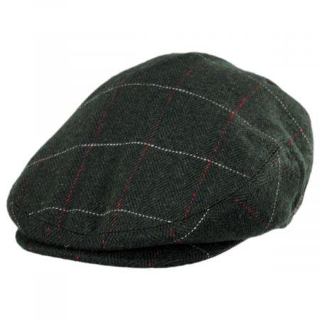 Flat Cap Window Check Herringbone Tweed Classic Quality 80/% Wool Camel// Brown
