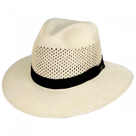 Scala Bethpage Vent Crown Panama Straw Safari Fedora Hat