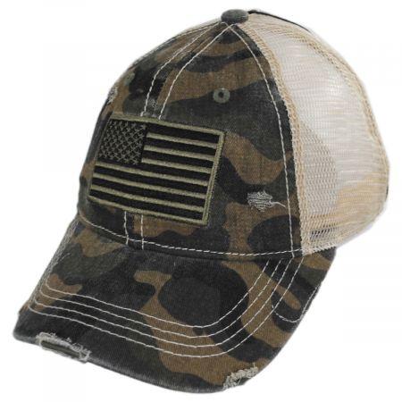 High Ponytail Camo US Flag Mesh Trucker Baseball Cap