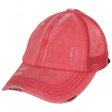 High Ponytail Distressed Mesh Trucker Baseball Cap alternate view 9