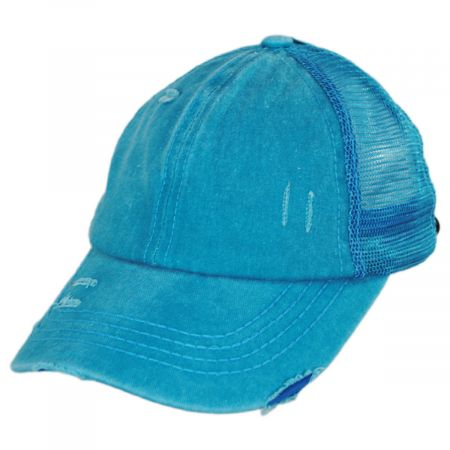 C.C PonyCaps High Ponytail Distressed Mesh Trucker Baseball Cap