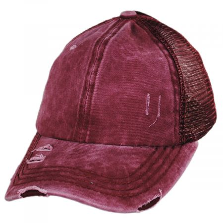 High Ponytail Distressed Mesh Trucker Baseball Cap alternate view 5