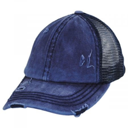 High Ponytail Distressed Mesh Trucker Baseball Cap alternate view 17