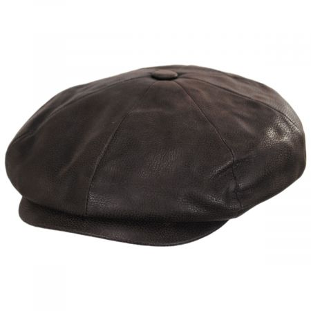 Stetson Many Leather Newsboy Cap
