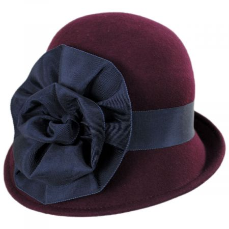 Kathy Jeanne Ribbon Flower Profile Wool Felt Cloche Hat