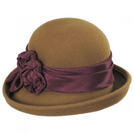 Kathy Jeanne Bengaline Band Wool Felt Cloche Hat