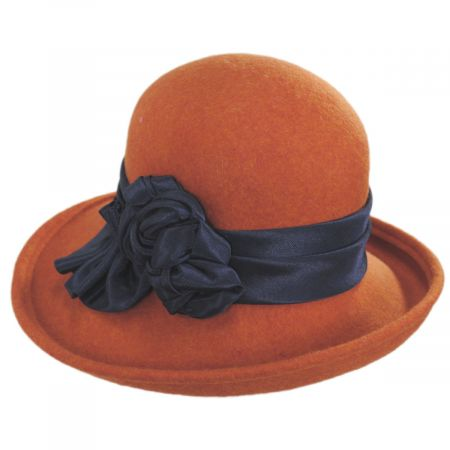 Kathy Jeanne Bengaline Band Wool Felt Off the Face Hat - Made to Order