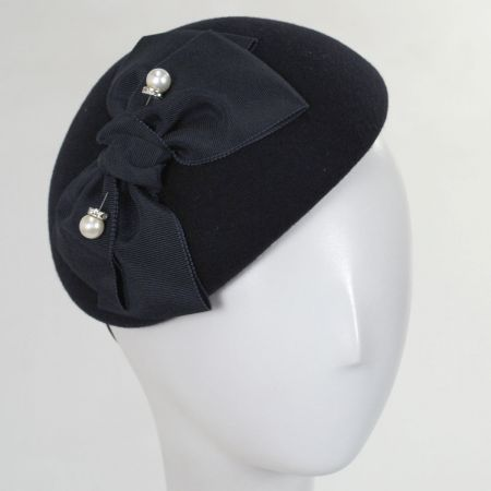 Wool Felt Ribbon Bow Accent Beret