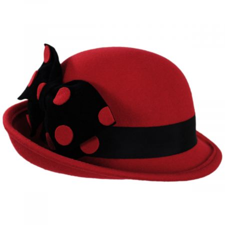 Kathy Jeanne Polka Dot Band Wool Felt Off the Face Hat