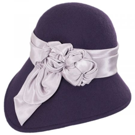 Kathy Jeanne Bengaline Band Wool Felt Asymmetrical Cloche Hat