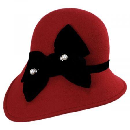 Kathy Jeanne Velvet Band Wool Felt Asymmetrical Cloche Hat