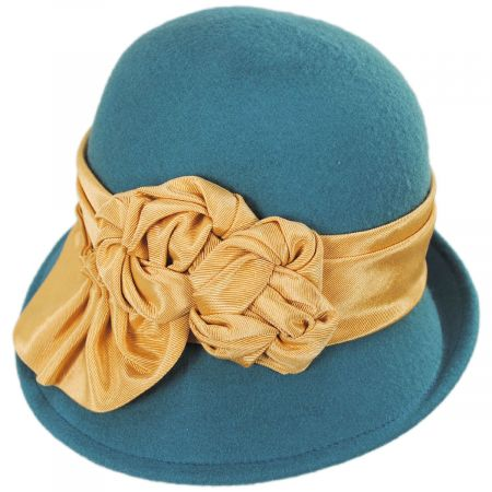 Kathy Jeanne Bengaline Band Profile Wool Felt Cloche Hat - Made to Order