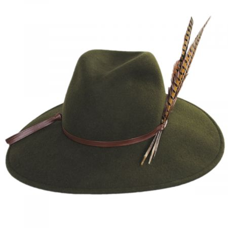 Kathy Jeanne Trio Pheasant Feather Wool Felt Fedora Hat