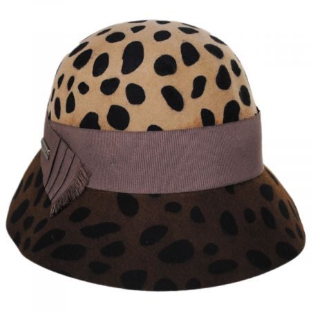 Leopard Wool Felt Cloche Hat
