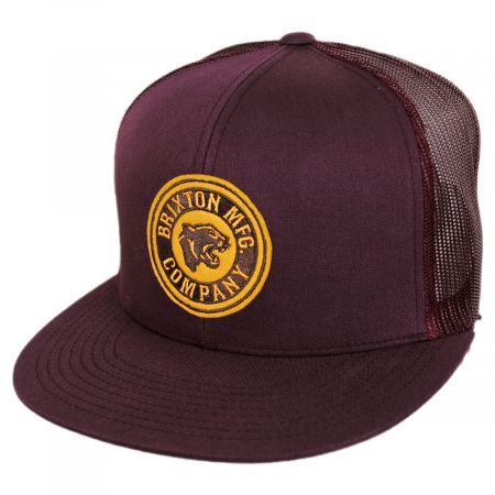Brixton Hats Forte Mid Pro Trucker Snapback Baseball Cap - Plum