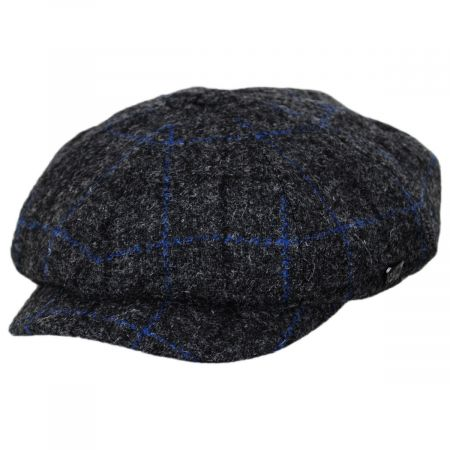 Failsworth Harris Tweed Windowpane Plaid Wool Newsboy Cap