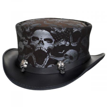 Head 'N Home Crossbones Leather Top Hat