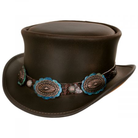 Bronze Oval Leather Top Hat