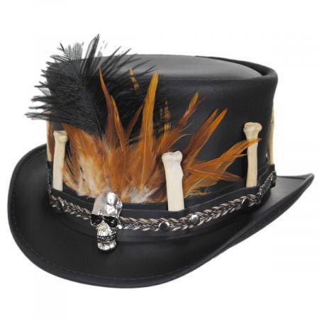 Head 'N Home Broken Bones Leather Top Hat