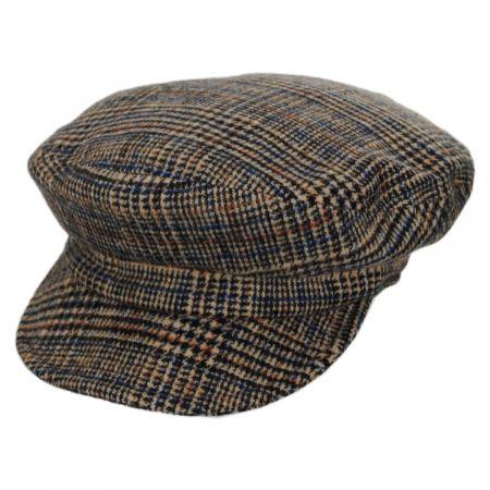 Unstructured Plaid Wool Blend Fiddler Cap