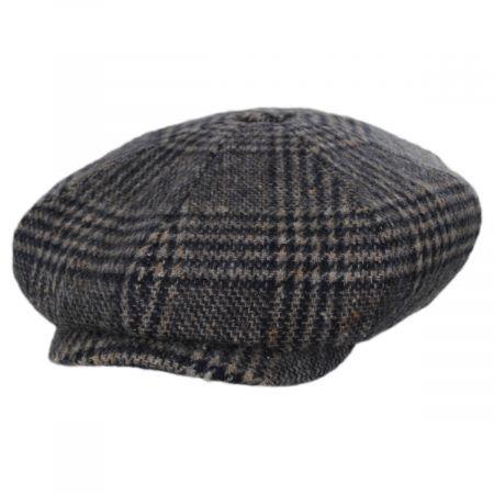 Stetson Glencheck Brushed Wool Blend Newsboy Cap
