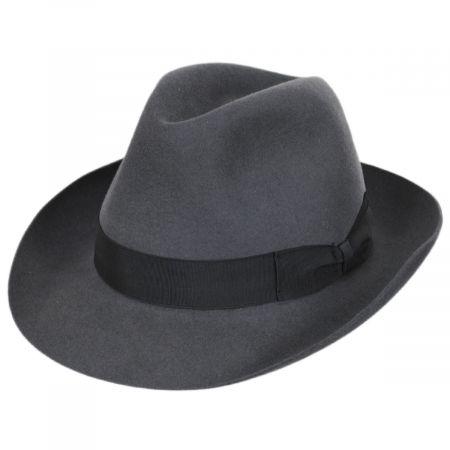 Borsalino Alessandria Shaved Gray Fur Felt Fedora Hat