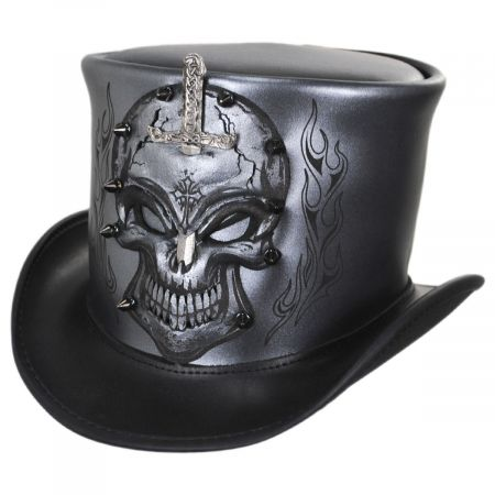 Head 'N Home Knighted Skull Leather Top Hat