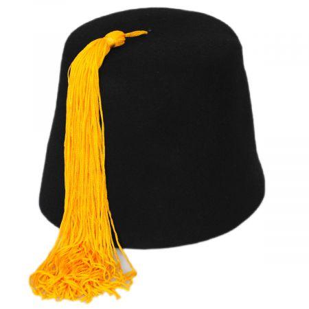 Village Hat Shop Black Fez with Gold Tassel