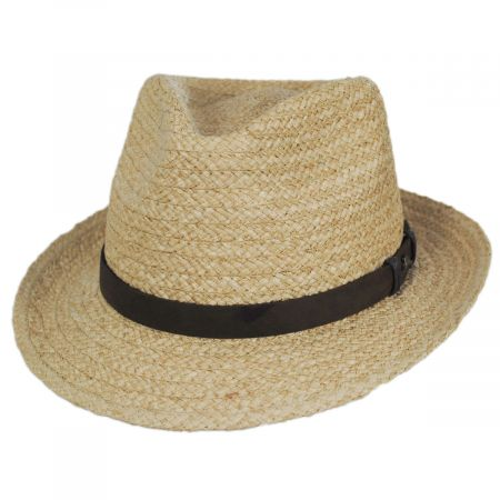 Azores Raffia Straw Fedora Hat alternate view 5