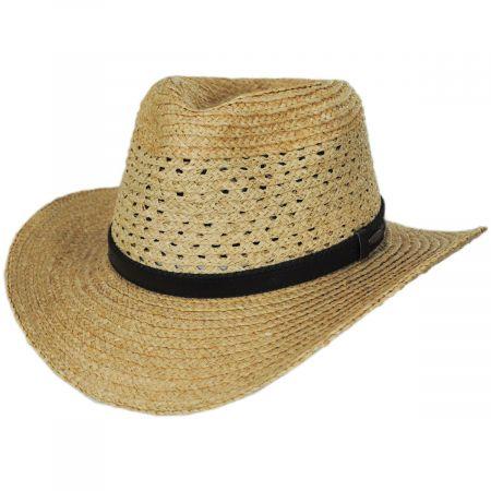 Scala Ventor Raffia Straw Safari Fedora Hat