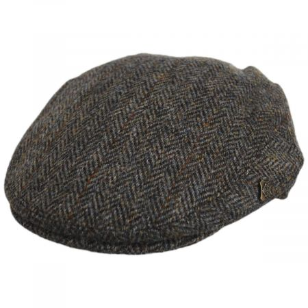 Failsworth Harris Tweed Overcheck Herringbone Wool Blend Ivy Cap