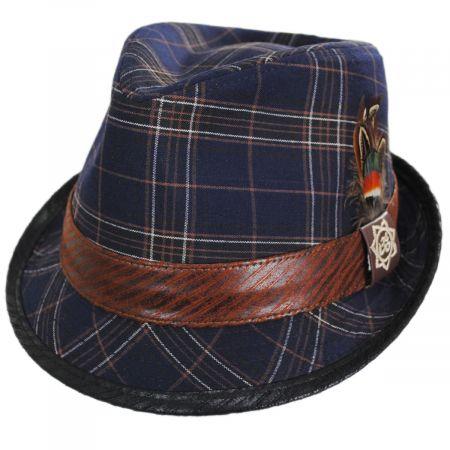 Carlos Santana Romeo Plaid Cotton Fedora Hat