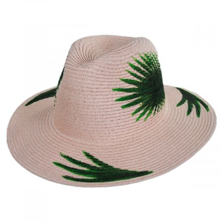 Hand Painted Palm Leaves Toyo Straw Fedora Hat