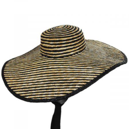 Horizontal Stripe Oversized Wheat Straw Sun Hat