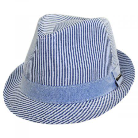 Blues Seersucker Cotton Fedora Hat alternate view 9