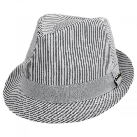Blues Seersucker Cotton Fedora Hat alternate view 13