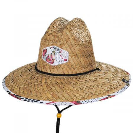 Hemlock Hat Co Pink Dragon Straw Lifeguard Hat