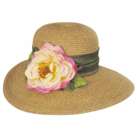 Toucan Collection Rose Toyo Straw Sun Hat