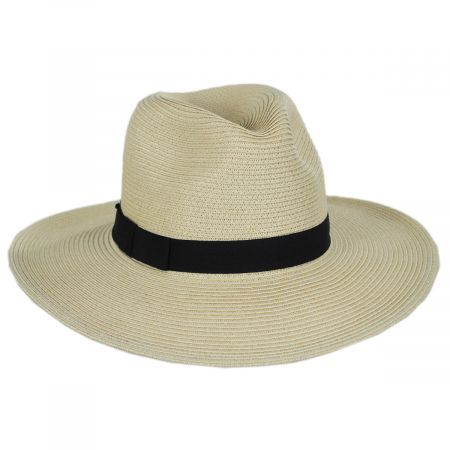 Toucan Collection Flat Brim Toyo Straw Fedora Hat