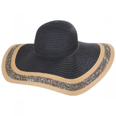 Via Roma Leopard Toyo Straw Brim Swinger Hat