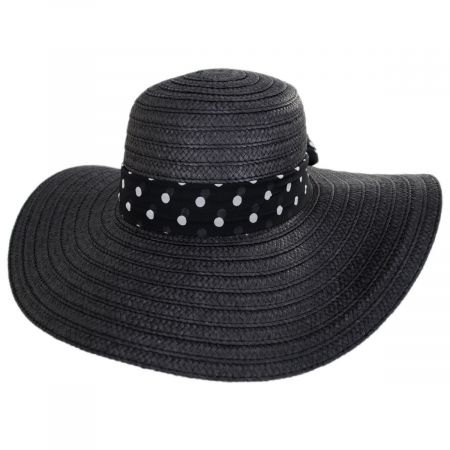 Dorfman Pacific Company Valena Polka Dot Band Toyo Straw Swinger Sun Hat