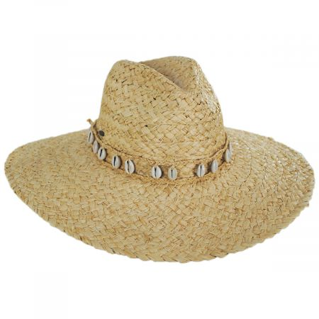 Scala Via Davini Raffia Straw Wide Brim Fedora Hat