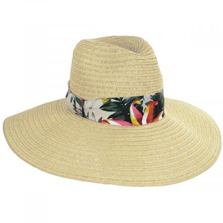 Bryah Toyo Straw Wide Brim Safari Fedora Hat