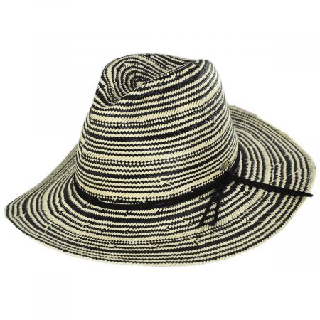 Scala Alessia 2Tone Toyo Straw Safari Fedora Hat