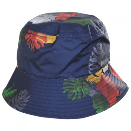 Reversible Bucket Hat for Kids and Toddlers Blue and Tan Feathers