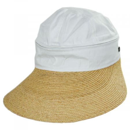 Smithsonian Racer Raffia Straw and Cotton Facesaver/Visor