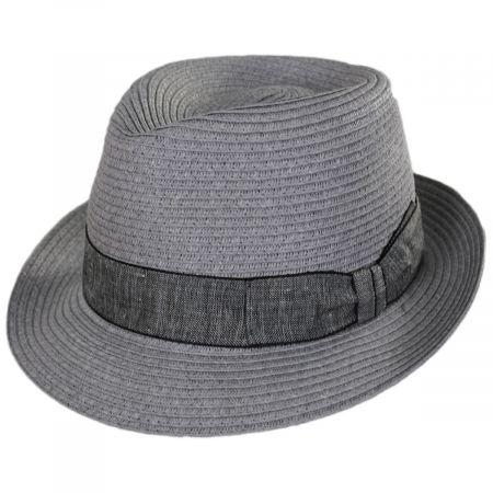 Stefeno Luigi Gray Toyo Straw Fedora Hat