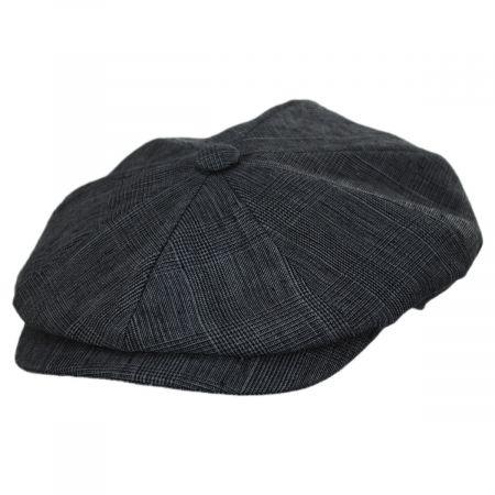 Manuel Gray Plaid Linen Newsboy Cap