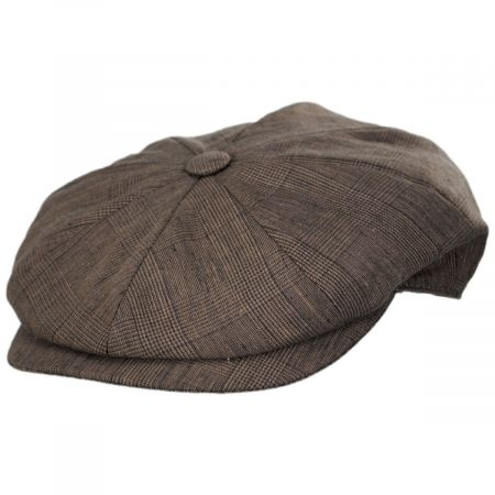 Stefeno Manuel Brown Linen Plaid Newsboy Cap